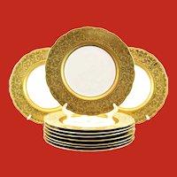Unique English Dinner Plates Gold Encrusted Faces Griffins George Jones Ca 19th C
