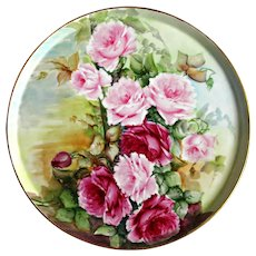 T & V Limoges Plate Hand Painted with Pink Roses Ca 1892-1907