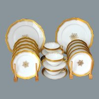 Antique French Limoges Gold Encrusted Tea Service for Four Wm Guerin Unused Near Mint