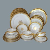 French Limoges Gold Encrusted Dinnerware Set Wm Guerin UNUSED