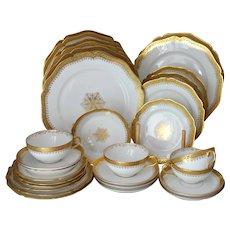 French Limoges Gold Encrusted Dinnerware Set Wm Guerin UNUSED