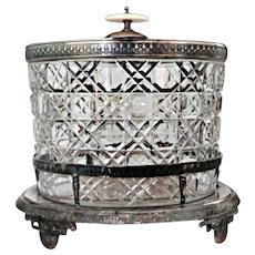 Antique Silver Biscuit Jar Hand Cut Glass Ca 1880's England