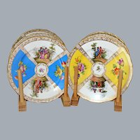 6 Antique Dresden Plates  Hand Painted Courting Scene Karl Richard Klemm