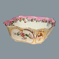Antique Pink Porcelain Server Bowl Hand Painted  Ca 1800's