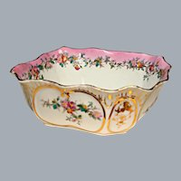 Antique Pink Porcelain Server Bowl Hand Painted  Ca 1800's