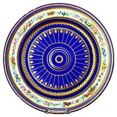 Antique French Sevres Cobalt Blue Gold Large Platter 16''  Ca 1754