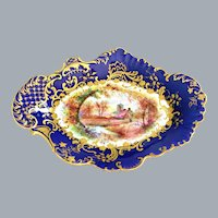 Antique English Cobalt Blue Gold Hand Painted Compote