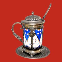 Antique Silver Porcelain Mustard Pot and Mustard Ladle Ca 19th Century