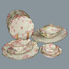 Antique Limoges Haviland Pink Roses Dinner Set for 10 + Extra Serving Pieces 54