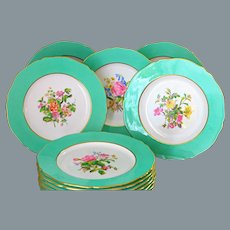 12 English Copeland Spode Dinner Plates Pale Green Border Hand painted Botanical UNUSED