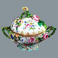 Antique Dresden Porcelain Encrusted Flowers Tureen or Biscuit Jar Ca 19th C