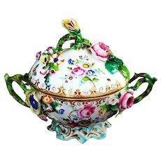 Antique Dresden Porcelain Encrusted Flowers Tureen or Biscuit Jar Ca 19th C