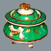 Antique French Porcelain Biscuit Jar with Frog Like Handles Ca 19th