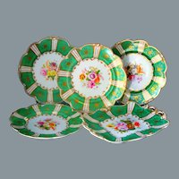 Antique Minton Green Botanical Plate Set Hand Painted Ca 1st Half of 19th C UNUSED