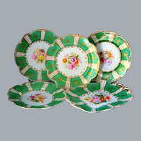 Antique Minton Green Botanical Plate Set Hand Painted Ca 19th C UNUSED