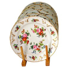Antique Coalport Floral Plates Hand Painted Early 19th Century Set of 6 - 8.5''