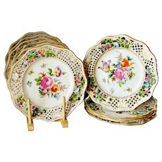Antique Carl Thieme Dresden Flowers Plates Reticulated Near Mint 9.25'' Hand Painted