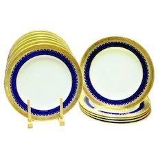 11 Antique Minton Dinner Plates Cobalt Blue Gold Encrusted Ca 1924 UNUSED Neoclassical