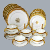 French Limoges Gold Encrusted Dinnerware Set for Six UNUSED Ca 1900's