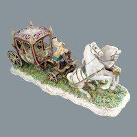 Capodimonte Porcelain Stagecoach Figurine by Luigi Fabris Large 21.5'' 1930's
