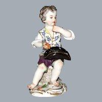 Meissen Figurine Kaendler Garden and Winser Children Series Boy Eating Grapes