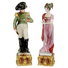 Napoleon and Josephine Bonaparte Porcelain Figurines by Capo Di Monte Bruno Merli