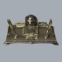 French Art Deco Sterling Silver Inkwell Desk Set Ca 1920's