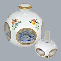 Vintage Bohemian Scent Perfume Bottle Millefiori Hand Painted