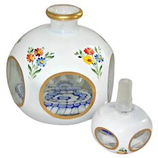 Vintage Bohemian Scent Perfume Bottle Millefiori Hand Painted