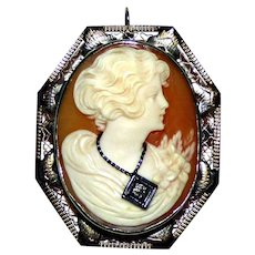 14k Gold Diamond and Cameo Shell Brooch Pendant Marked