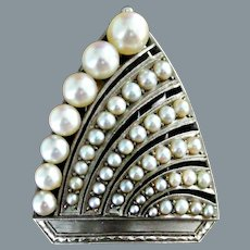 Art Deco Clip Pin Brooch Platinum Natural Pearls Ca 1930