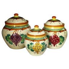 Vintage Vietri Italian Hand Painted Canister Jars UNUSED Set of 3 Near Mint