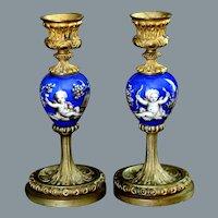 Antique French Porcelain Ormolu Gilt Bronze Candlesticks Ca 19th C