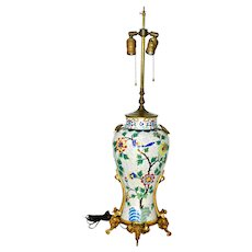 A Chinese Cloisonne Vase Mounted as Lamp Large Ormolu Mounted