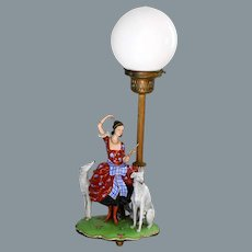 Art Deco Globe Lamp Lady with Greyhounds Germany Fraureuth Ca 1920's