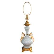 Antique French Pâte-Sur-Pâte Ormolu Mounted Celadon Vase as a Lamp Ca Late 19th C