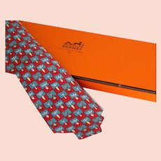 Hermes Tie Blue and Red Root Vegetables Checks Pattern New Old Stock