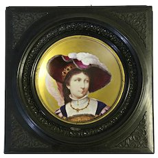 Antique Hand Painted Portrait of Victorian Upper Class Society Young Lady on Porcelain Plate Framed Inscribed Provenance