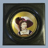 Hand Painted Portrait of Victorian Young Lady on Porcelain Plaque Framed Inscribed Provenance