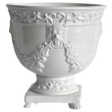 Mottahedeh White Planter Cache Pot with Lion's Head and Paws  Floral Swags
