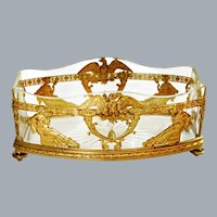 Antique French Gold Dore Bronze and Crystal Centerpiece Ca 19th C