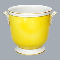 Vintage Yellow Porcelain Planter Cache Pot