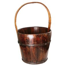 Antique Primitive Wooden Bucket Iron Bands Ca Late 1800's Early 1900's