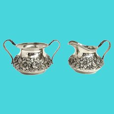 S Kirk Son Sterling Silver Floral Repousse  Creamer and Sugar Bowl