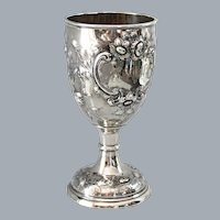 Coin Silver Goblet Chalice Jones, Ball Co Ca 1850 Hand Chased