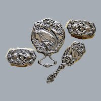 Unger Brothers Sterling Silver Hand Mirror Art Nouveau Figural Vanity Set Ca 1904