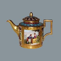 Royal Vienna Gold Encrusted Jeweled Porcelain Teapot Hand Painted Ca 19th C