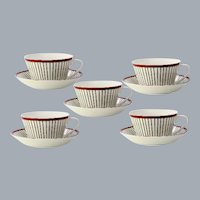 5  Sweden Tea Cup and Saucer Spisa Ribb Stig Lindberg Gustavsbergs