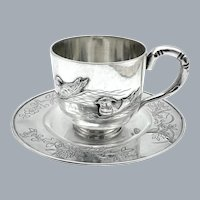Chinese Export Silver Demitasse Cup and Saucer by Zeewo Shanghai Circa 1920's