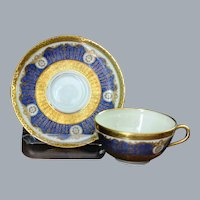 8 Vintage Gold Encrusted Medallions Blue Tea Cups Saucers Black Knight Antoinette Ca 1930
